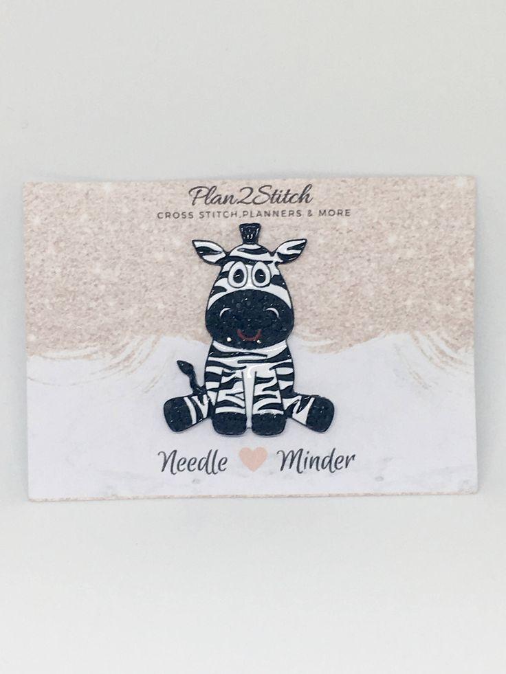 Zoe the Zebra Rhinestone Alloy Needle Minder/Magnet for Cross Stitch/Embroidery by Plan2Stitch on Etsy