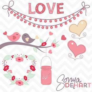 FREE Clip Art Valentine's Day Love Birds Mason Jar and Hearts