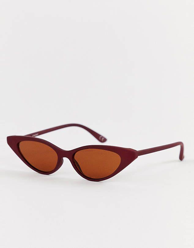 25065b6625 ASOS DESIGN cat eye sunglasses in matt red