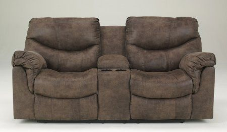 "The ""Alzena-Gunsmoke"" upholstery loveseat features a heavyweight faux leather upholstery fabric stylishly adorned with jumbo stitched details that offers all th..."