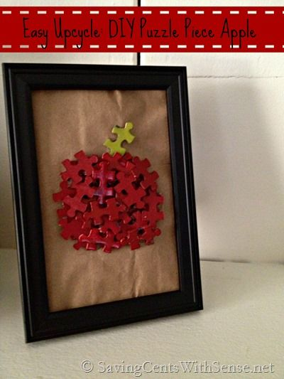 Frugal Fall DIY Project: Puzzle Piece Apple #DIY #Fall #Apple #Crafts