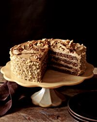 Rum-Mocha Walnut Layer Cake:  CAKE Fine dry bread crumbs, for dusting 2 cups walnut halves (about 7 ounces) 1/4 cup unsweetened cocoa powder (not Dutch process) 1/2 cup cake flour 1 teaspoon instant espresso powder 8 large eggs, separated 1 cup sugar 2 teaspoons pure vanilla extract 1/4 teaspoon salt FILLING 6 large egg yolks 1/2 cup sugar Pinch of salt 2 tablespoons instant espresso powder dissolved in 1/2 cup hot water 1 pound unsalted butter, softened 3 tablespoons coffee liqueur