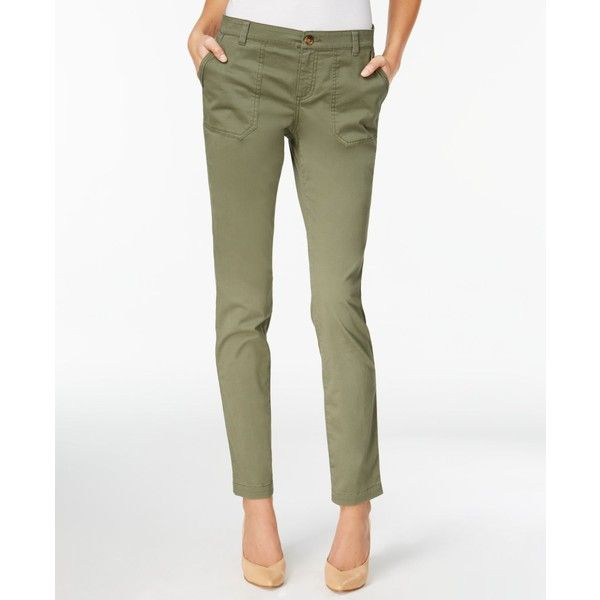 Style & Co Slim Girlfriend Pants, Created for Macy's ($20) ❤ liked on Polyvore featuring plus size women's fashion, plus size clothing, plus size pants, olive sprig, white cargo pants, utility pants, cargo pocket pants, cargo pants and olive pants