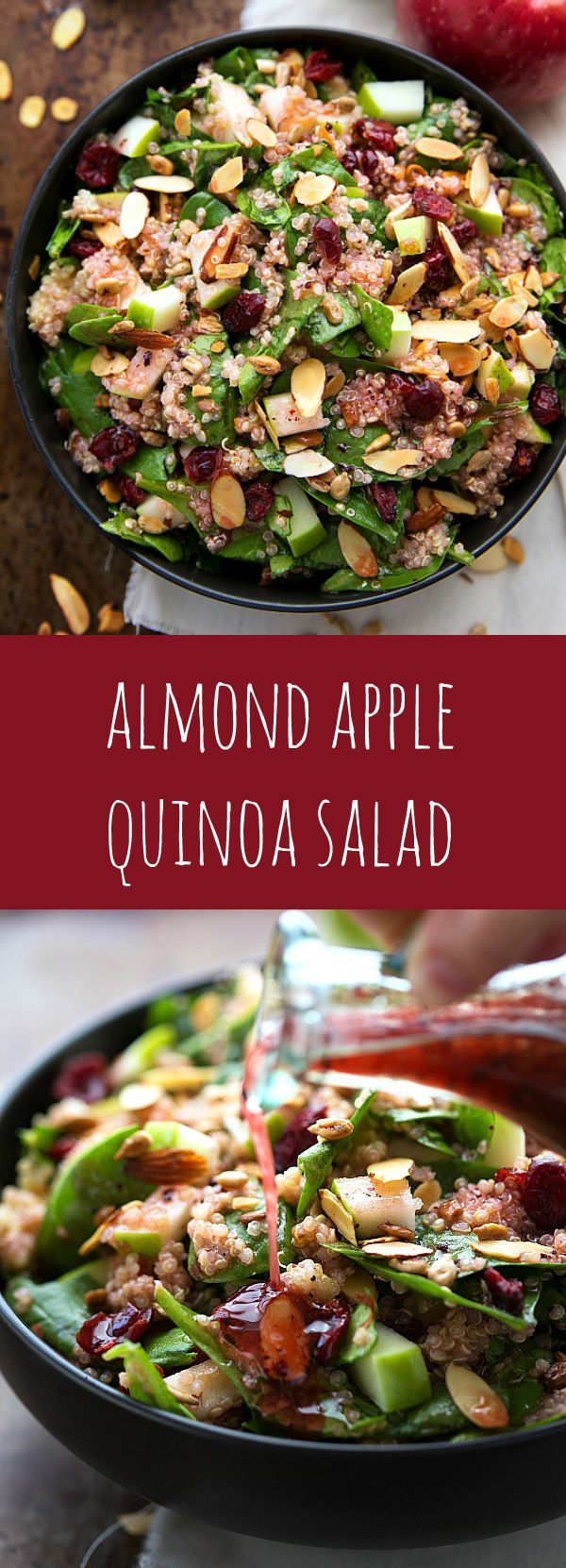 Delicious and Easy Almond Apple Quinoa Salad with the BEST raspberry vinaigrette| healthy recipe ideas @xhealthyrecipex |