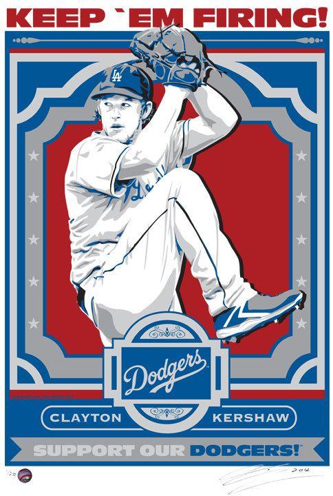 Clayton Kershaw Los Angeles Dodgers Baseball by SportsPropaganda