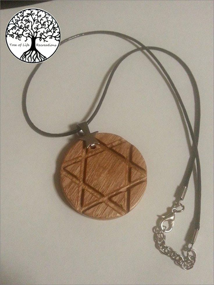 Hand Turned Tasmanian Oak Pentagram Pendant with adjustable leather necklace by TLRecreations on Etsy