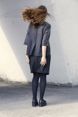 Grey see through blouse | Adelina Ivan Studio