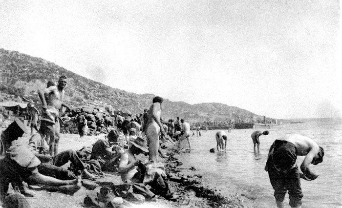 A day at the Beach. Australian Army Troops Enjoy a Swim in ANZAC Cove Gallipoli. 1915. (700x426)