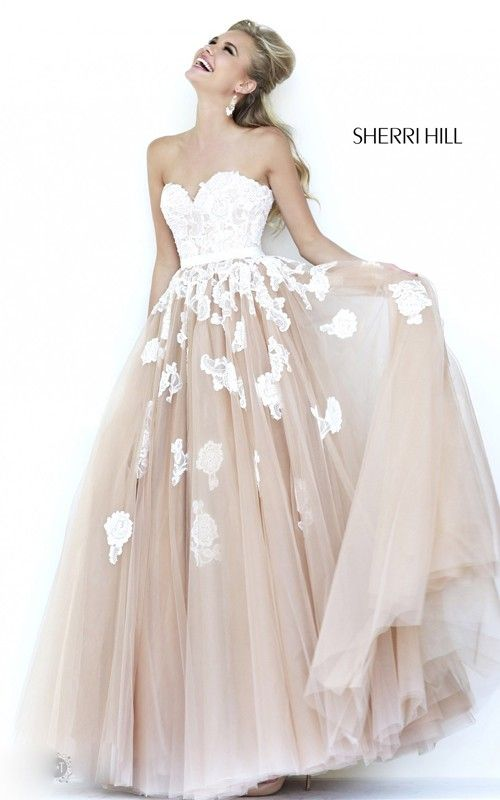 ivory Nude Lace Prom Dress 2015 Sherri Hill