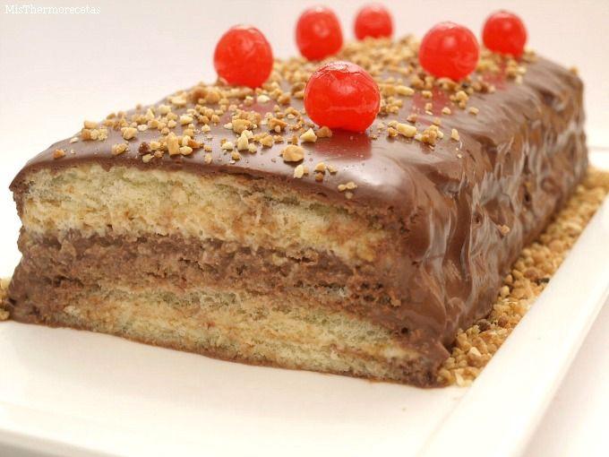 Pastel de turrón y chocolate - MisThermorecetas