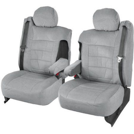 BDK Pickup Truck Seat Covers with Arm Rest and Built In Seat Belt, Encore, Gray