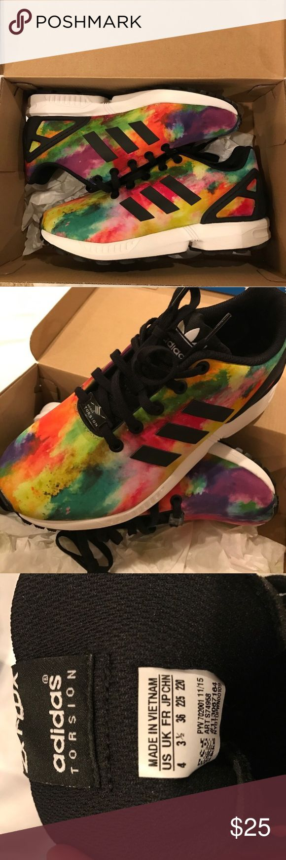 Adidas Flux Bough from another posher, PERFECT condition. Never been worn! I would LOVE to keep them but they are too small for me. Original box. Kids size 4/Women's 6 Adidas Shoes Sneakers