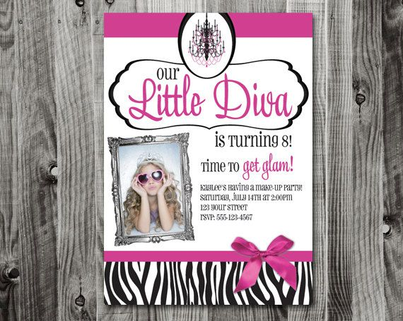 little diva / baby diva birthday party invitation. $18.00, via Etsy.