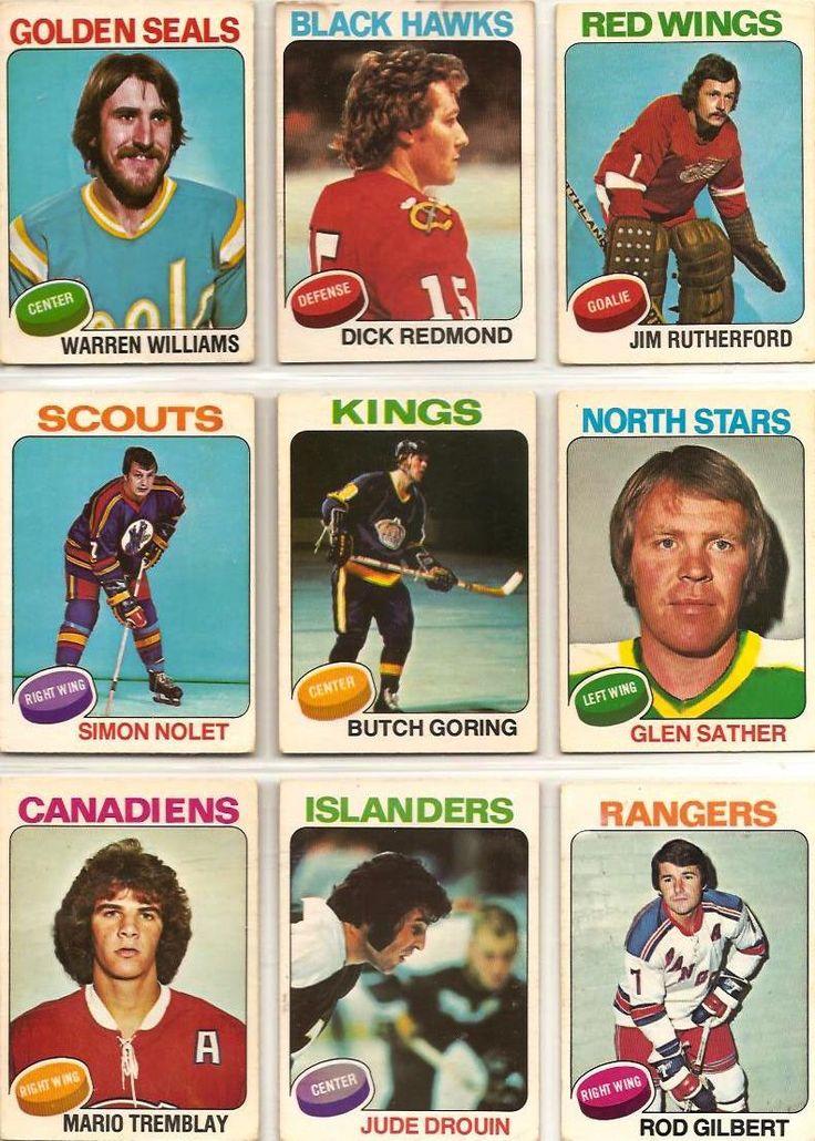 Warren Williams, Dick Redmond, Jim Rutherford, Simon Nolet, Butch Goring, Glen Sather, Mario Tremblay, Jude Drouin, Rod Gilbert