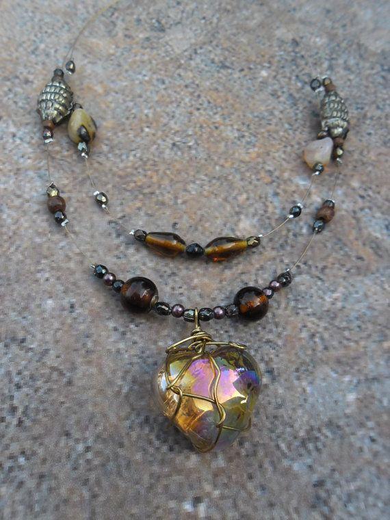 Ketting dames hartvormige bruine bedel van glas met door Zathura, $19.50
