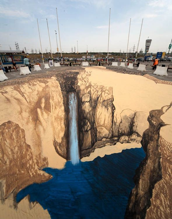 Final_second_day: 3D Street Art, Boggling 3D, Street Art Sidewalk, 3 D Art, Waterfall, 3D Art, Street Sidewalk Art, Sidewalk Street Art
