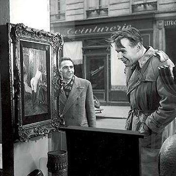 Doisneau. Tableau de Wagner dans la vitrine de la Galerie Romi, rue de Seine, Paris 6e – 1948