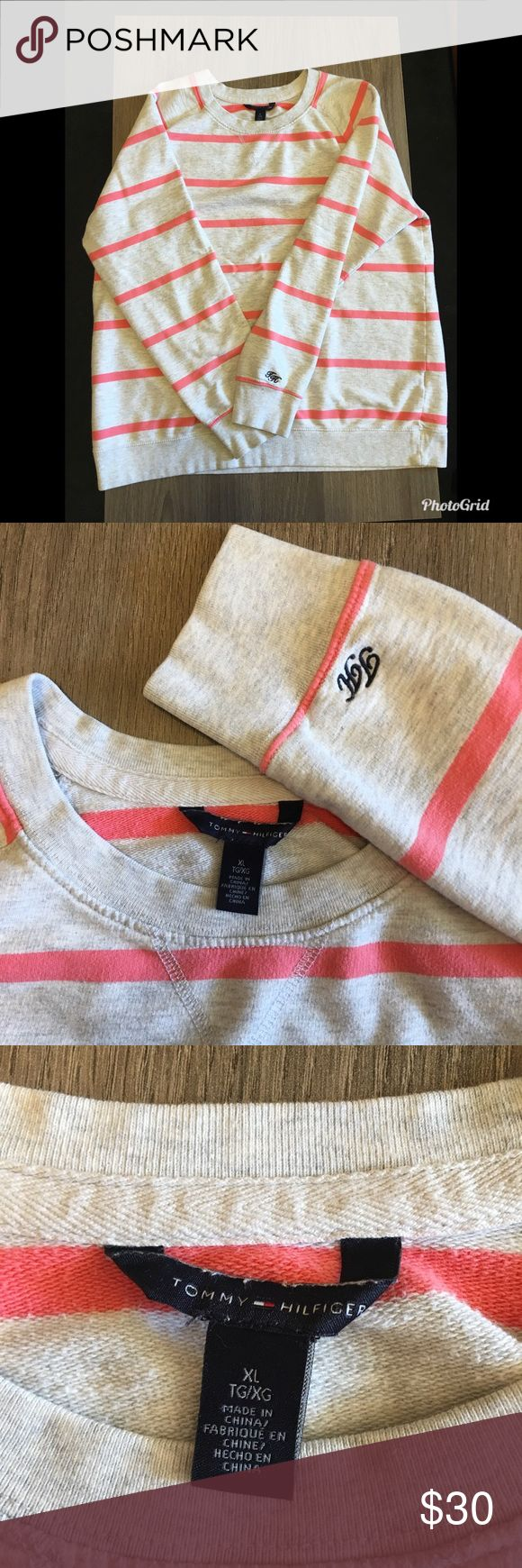 Tommy Hilfiger Crew Neck Sweatshirt Excellent condition grey and coral pink crew neck with embroidered TH on the sleeve! Perfect for winter into spring!  🚫 No Trades 📦 Fast Shipper! Tommy Hilfiger Sweaters Crew & Scoop Necks