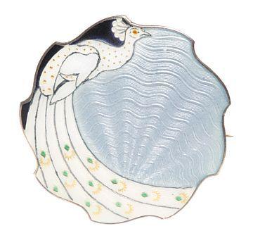 Brosje sterling silver and enamel H C Ostrem