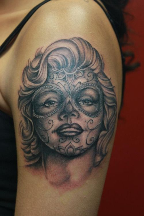 36 best marilyn monroe sugar skull tattoo designs images for Marilyn monroe skull tattoos