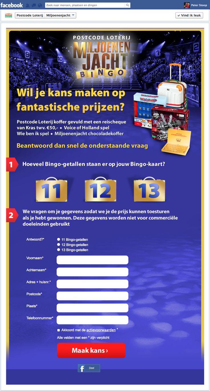 Facebook App | Facebook Marketing | Postcode Loterij, Miljoenenjacht