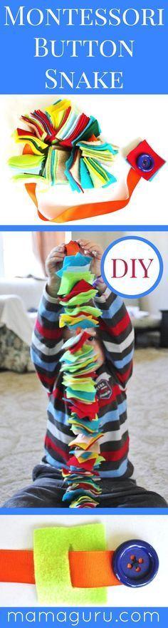 Montessori DIY ♥ Button Snake ♥ Preschool ♥ Homeschool ♥ Montessori at Home ♥ Teach Kids How to Button ♥ Simple Craft