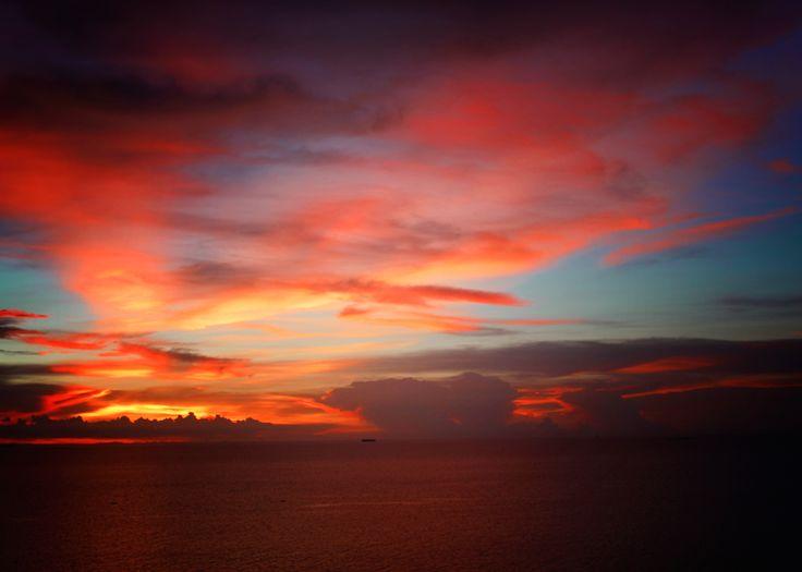 Sunset #sea #red #orange #colorful #Thailand
