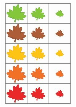 Math Centers for Kindergarten - Autumn / Fall. 123 pages. A page from the unit: Sorting by size - small - medium - large - leaves.