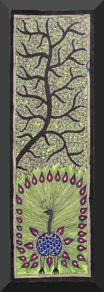 Madhubani Painting Peacock Dancing