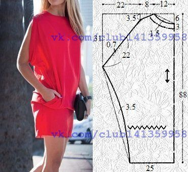 Туника (платье) с проймой в плечевых швах. Выкройка на размер 42/44 (рос.). #простыевыкройки #простыевещи #шитье #туника #платье #выкройка