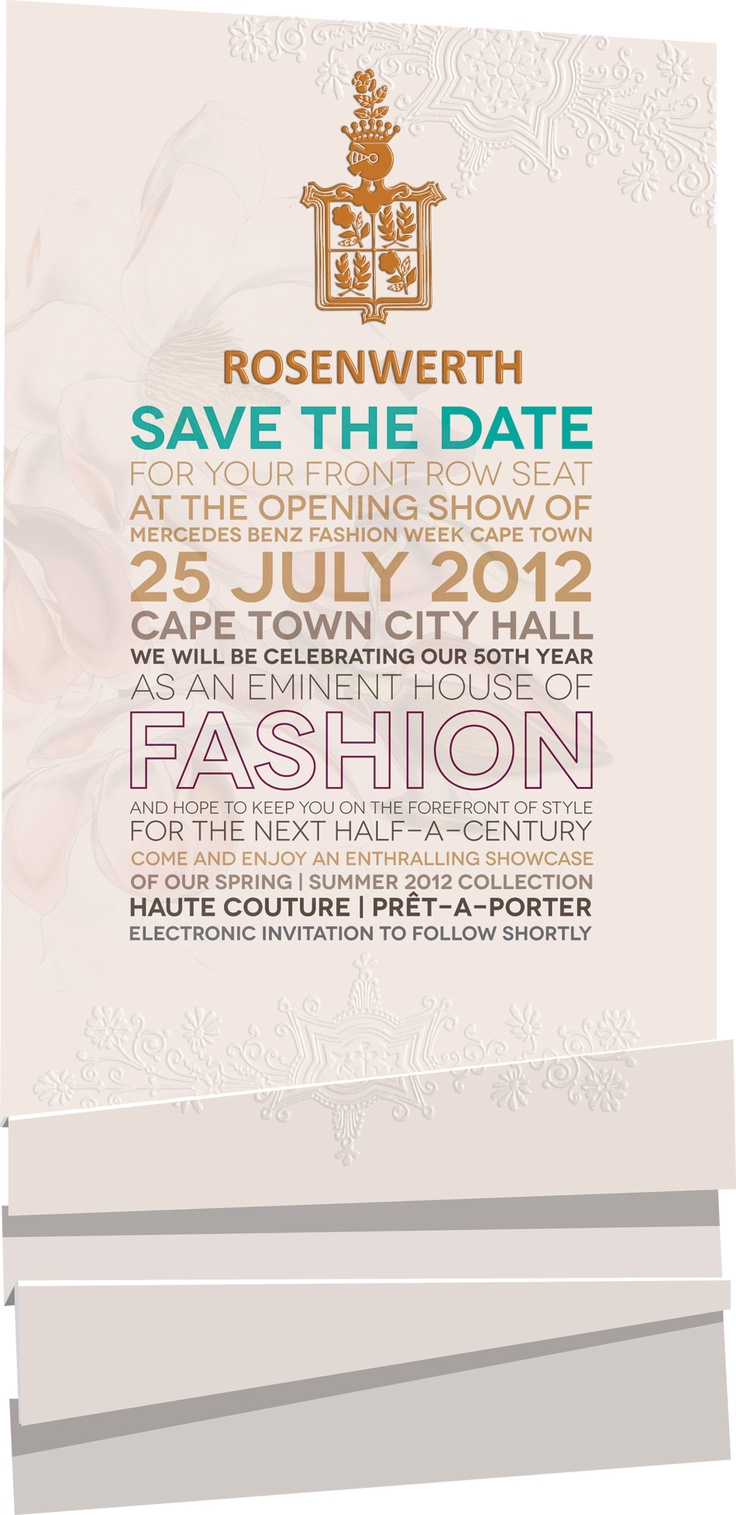 Mercedes Benz Cape Town Fashion Week 2012 - Save the date designed by The Toast Enterprise for Rosenwerth