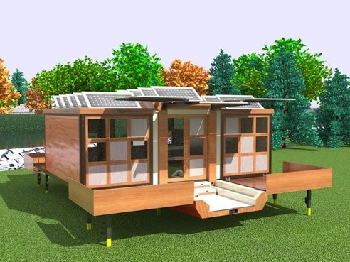 Sustainable house pops out of a single trailer