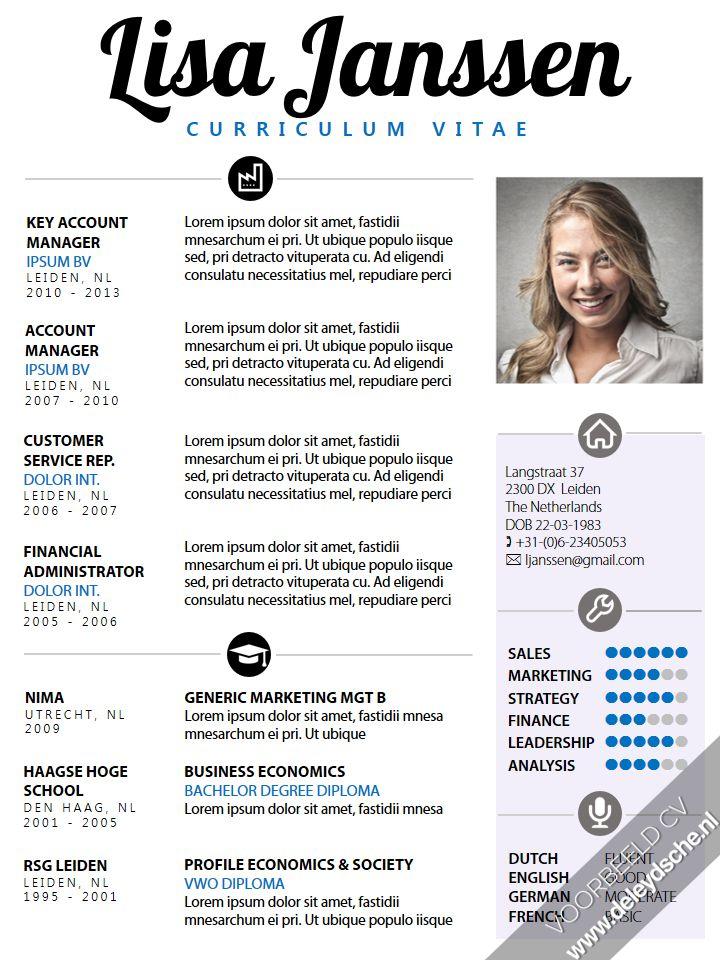 CV sjabloon: Een opvallend, maar toch zakelijk Curriculum Vitae van de Leydsche. Zelf te bewerken in MS Office, inclusief bijpassend brief sjabloon. http://deleydsche.nl/