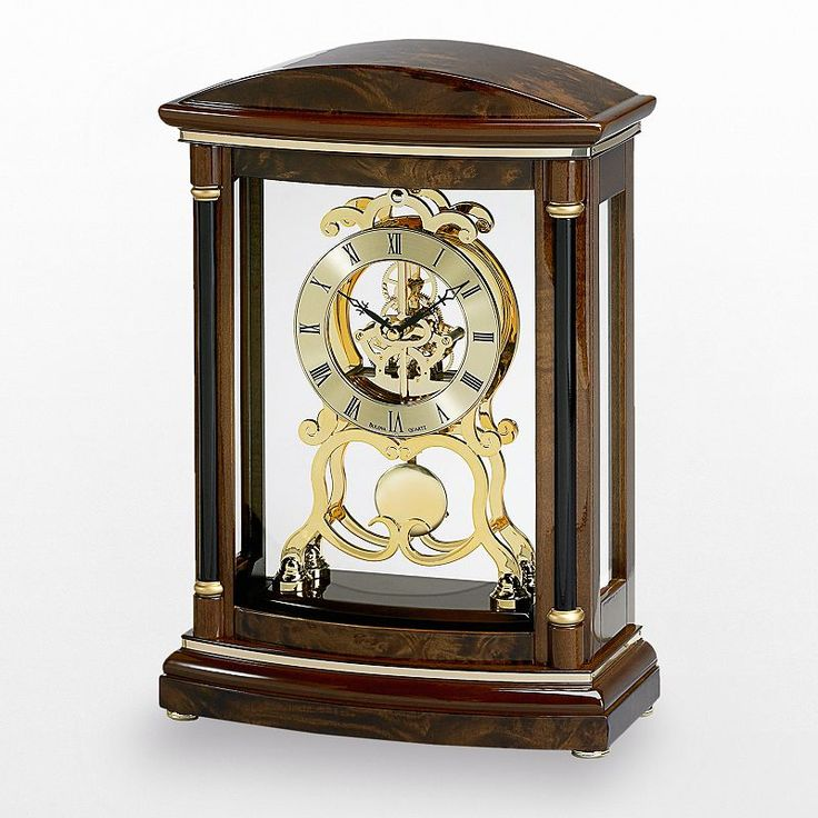 Bulova Valeria Wood Pendulum Skeleton Mantel Clock - B2026, Brown