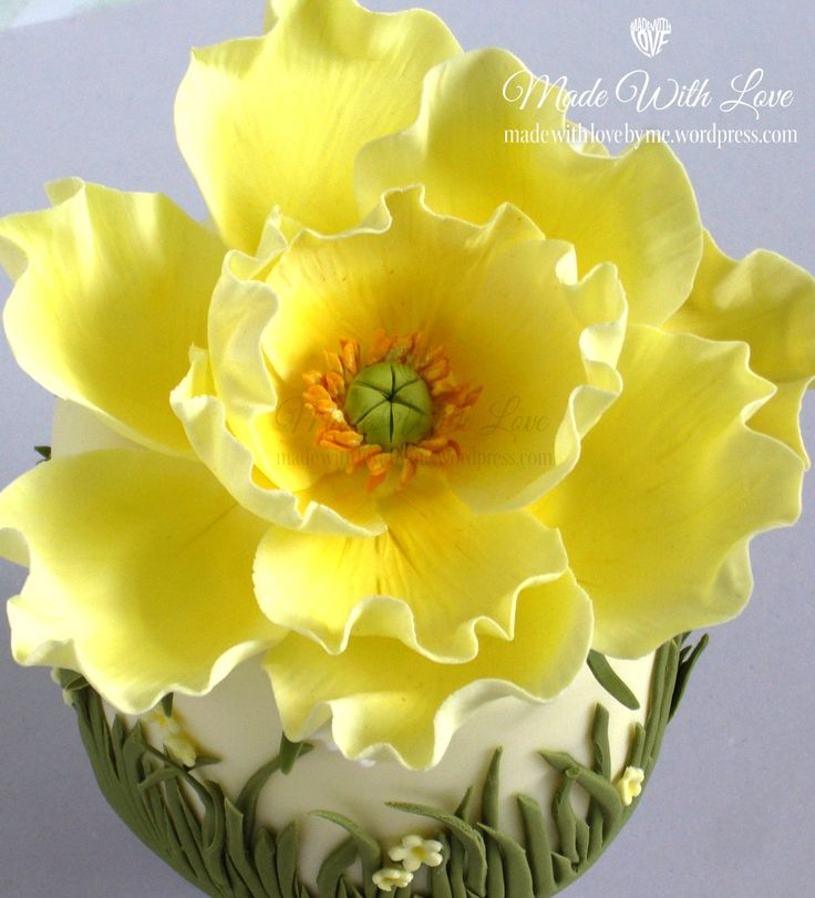 Yellow Poppy sugar flower