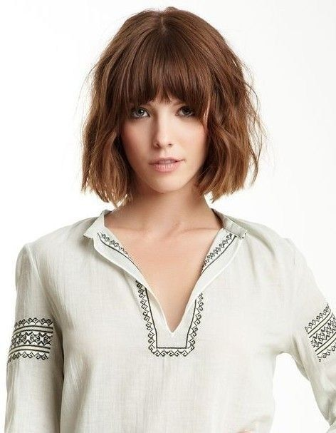 Back to school short haircut - the bob cut with wispy bangs