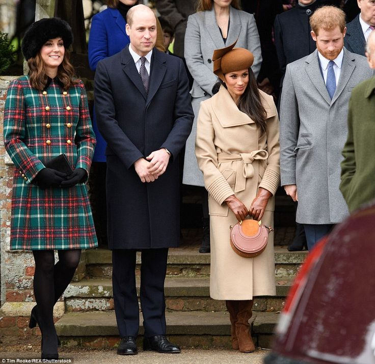 The two young Princes are pictured with their partners on the steps outside St Mary Magdal...