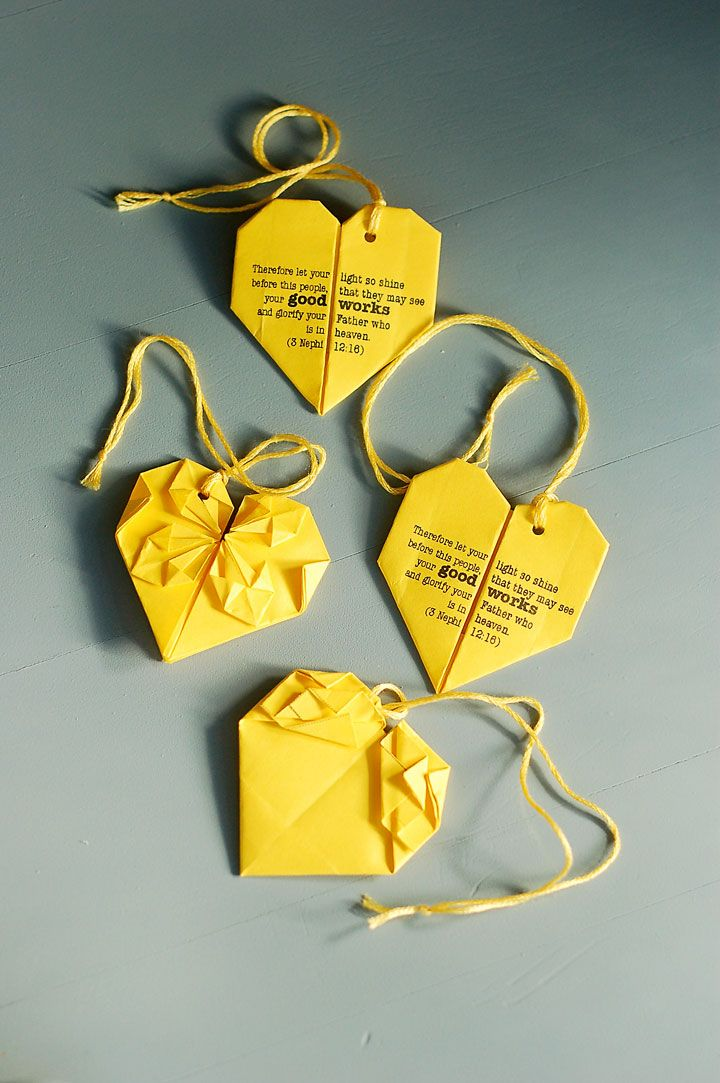 The YW's Arise and Shine Forth Good Works heart (video in other pin of origami money heart)