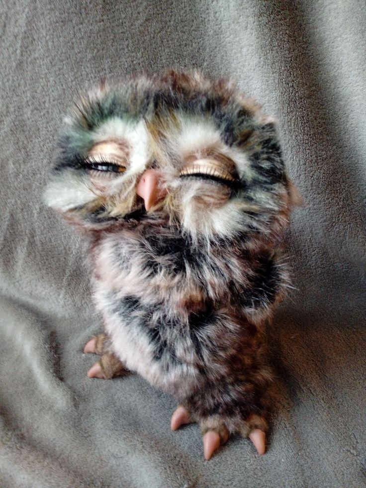 blinking owl, poseable art doll, ooak, handmade (With