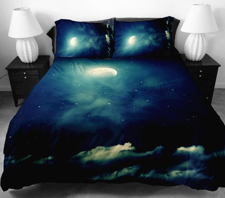Anoleu Printed Moon And Cloud Duvet Cover 2 Matching