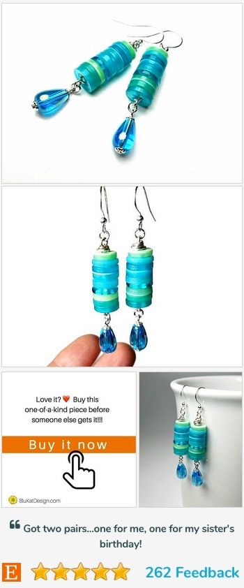 Click to see more colorful buttons earrings _.https://www.etsy.com/blukatdesign/listing/222839923/turquoise-blue-aqua-dangle-earrings?