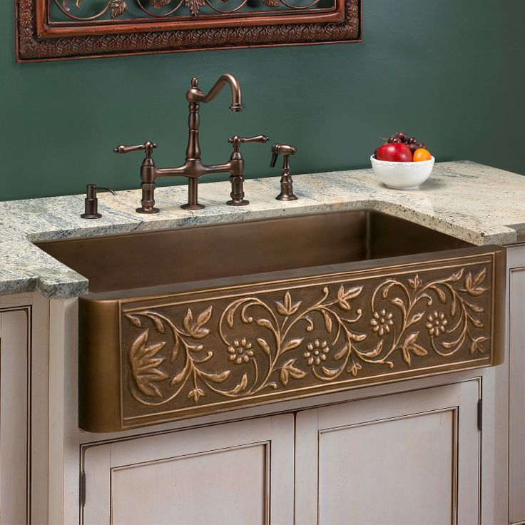Vine Design Copper Farmhouse Sink - Kitchen Sinks - Kitchen