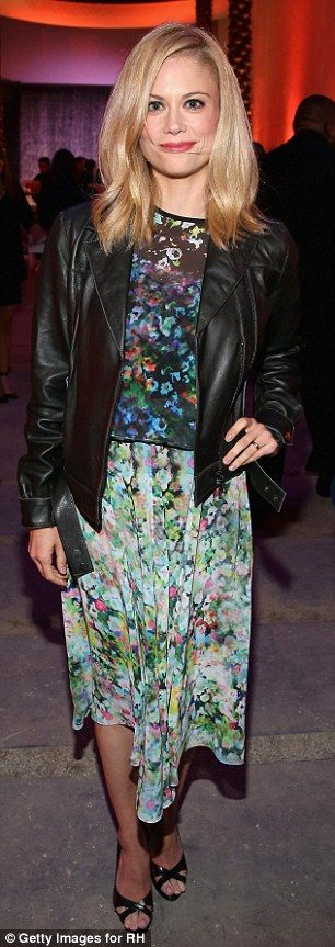 Lovely look: Claire Coffee looked pretty in a floral frock...