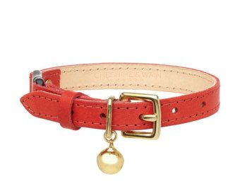 Red Leather Cat Collar with Breakaway Buckle by CheshireandWain