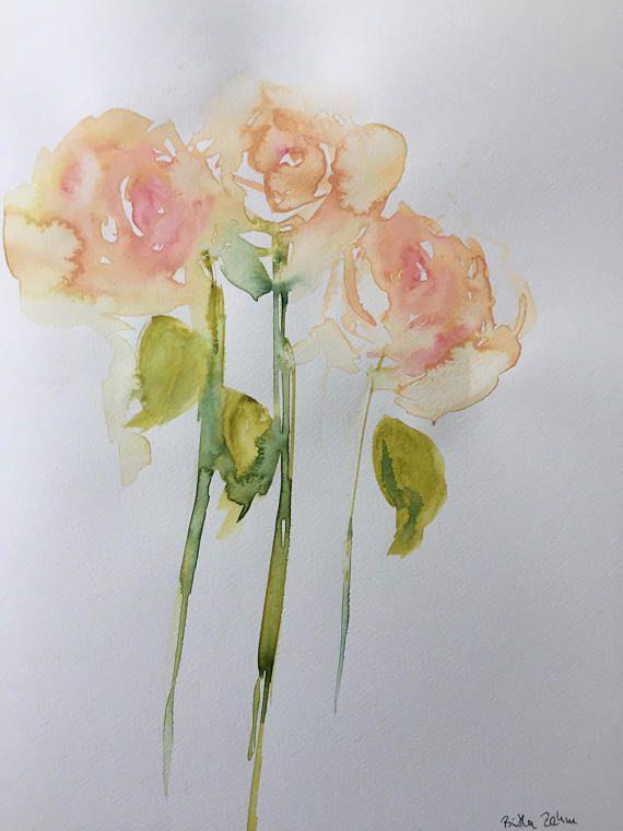 Original Aquarell Aquarellmalerei Blumen Rosen Abstrakt Bild Kunst