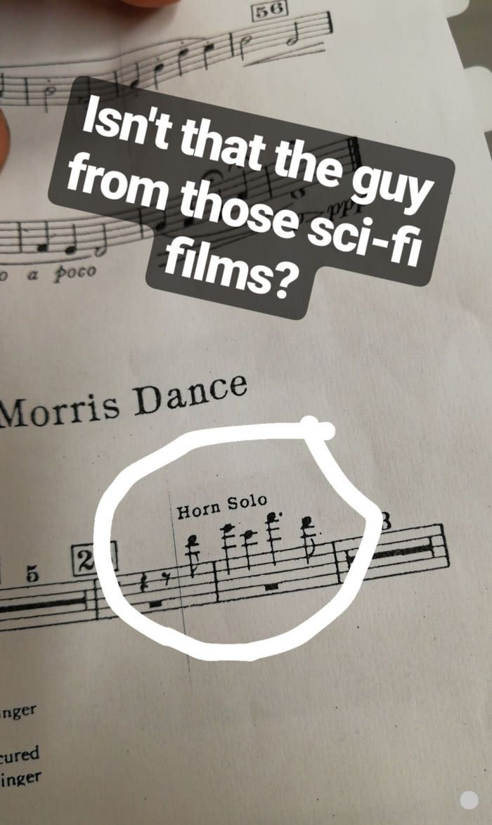 "Schtar Wors Oh and also Leia's theme in star wars begins with a ""Horn Solo"" and I just stared at that part for a full 30 seconds"