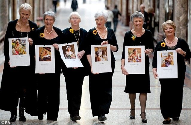 The Calendar Girls Mark Two: (From left to right) Tricia Stewart, Angela Baker, Beryl Bamforth, Lynda Logan, Chris Clancy and Ros Fawcett Read more: http://www.dailymail.co.uk/news/article-1180453/Original-Calendar-Girls-reunite-bare-10-years--time-theyre-colour.html#ixzz2LmXVqZi5 Follow us: @MailOnline on Twitter | DailyMail on Facebook