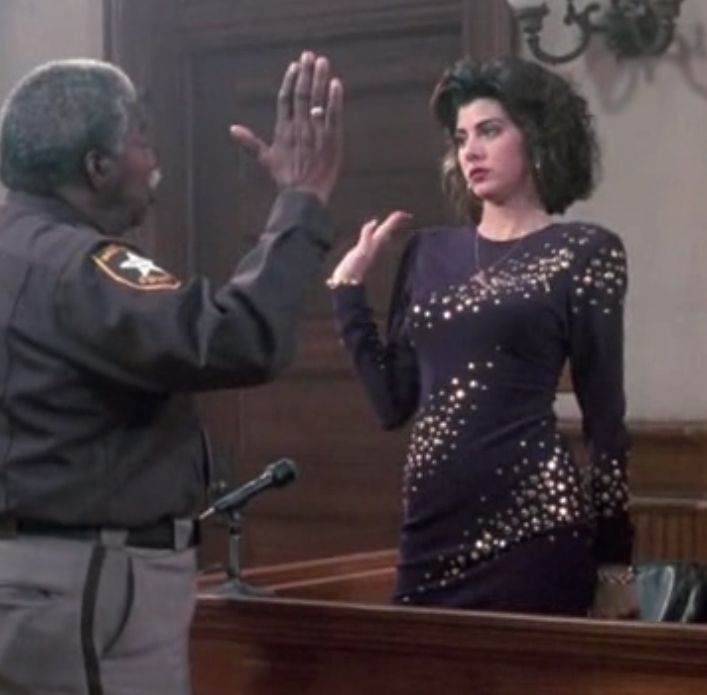 "My Cousin Vinny. Marisa Tomei' "" Do you swear to tell the truth the whole truth and nothing but the truth?"" ""You know I do."""