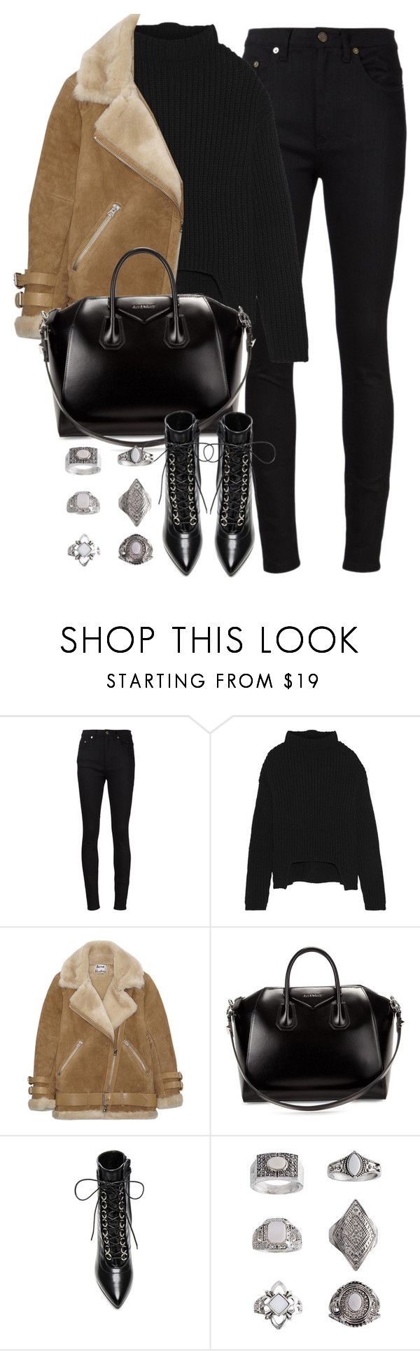 """Untitled #4100"" by maddie1128 ❤ liked on Polyvore featuring Yves Saint Laurent, Rick Owens, Acne Studios, Givenchy and Topshop"