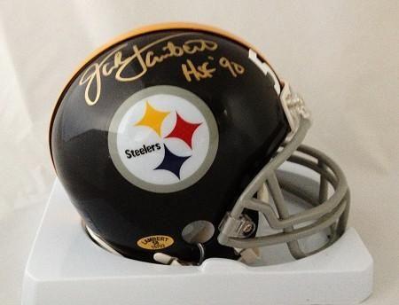 90d56b09d ... Professionally Jack Lambert Autographed Pittsburgh Steelers Black  Throwback Mini Helm AUTHENTICS Mitchell Ness ...